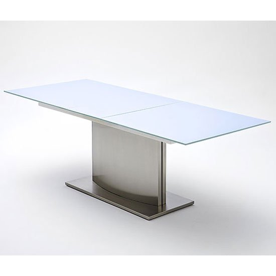 Memory extending white frosted glass dining table 180 to for Frosted glass dining table