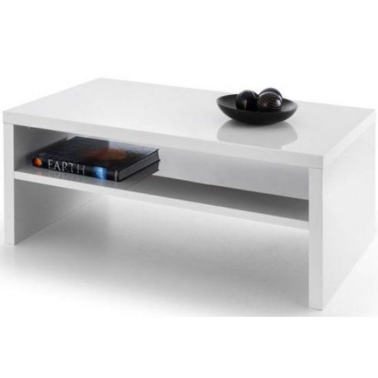 Metric Coffee Table In White High Gloss With UnderShelf_1