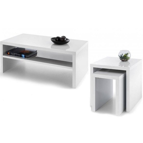 Metric Coffee Table In White High Gloss With UnderShelf_2