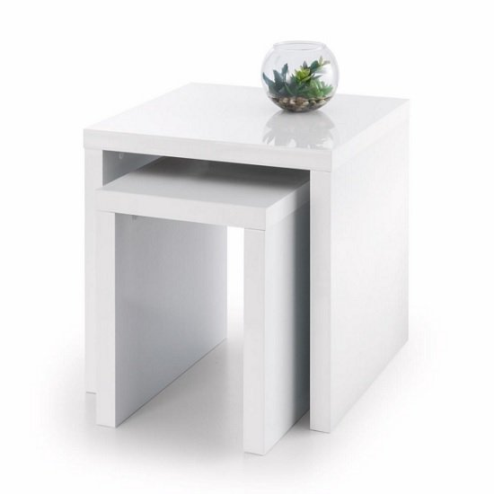 Metric 2 Nesting Tables Square In White High Gloss