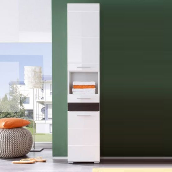 Pleasing Mezzo Tall Bathroom Cabinet In White With High Gloss Fronts Home Interior And Landscaping Ologienasavecom