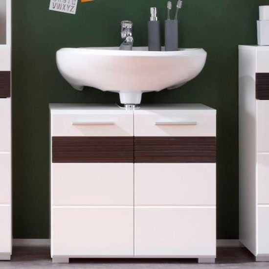 Mezzo Vanity Cabinet In White With High Gloss Fronts