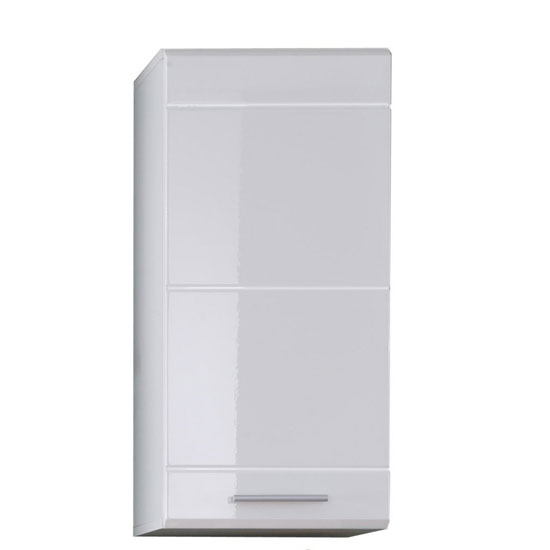 Mezzo Wall Mount Storage Cabinet In White With High Gloss Fronts