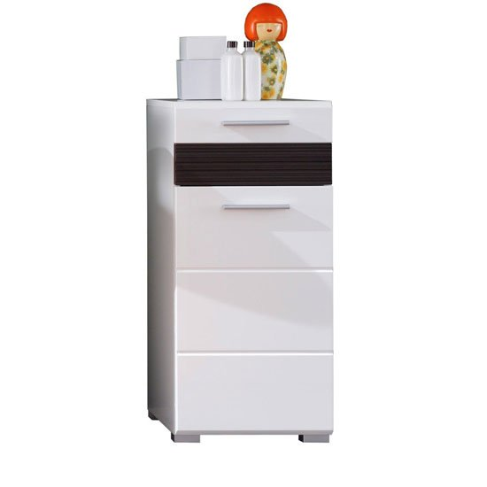 Mezzo Storage Cabinet In White With High Gloss Fronts