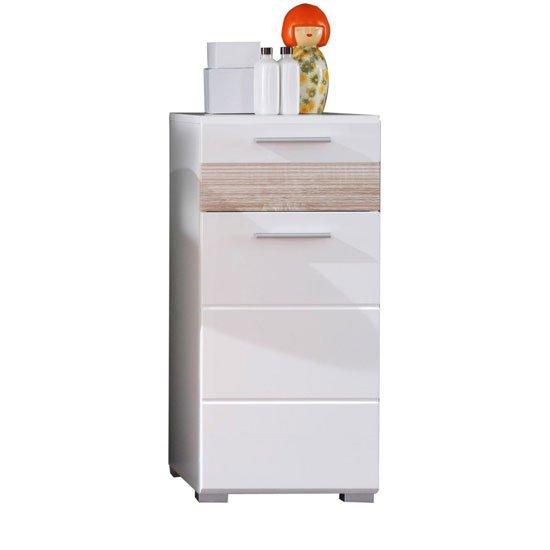 Mezzo Storage Cabinet In White With Gloss Front And Light Oak