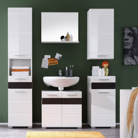 Mezzo Tall Bathroom Cabinet In White With High Gloss Fronts