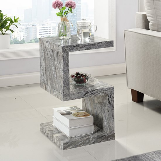 Miami S Shape Gloss Melange Marble Effect Side Table