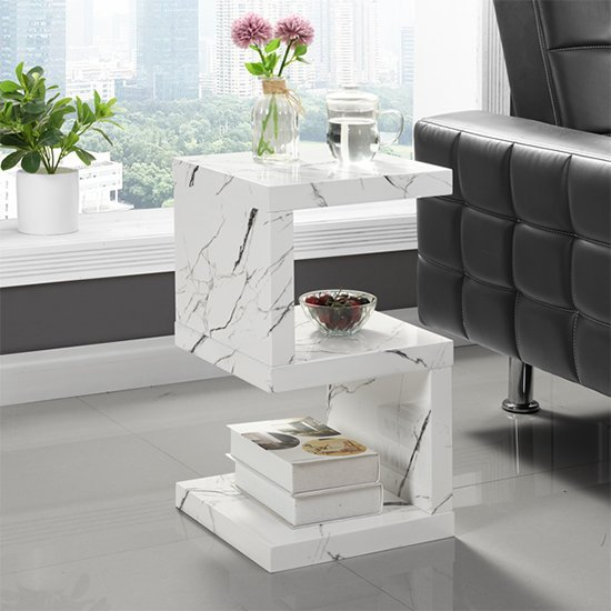 Miami S Shape Side Table In Gloss White Vida Marble Finish