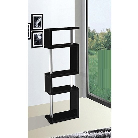 miami black slim shelving unit in high gloss 16402