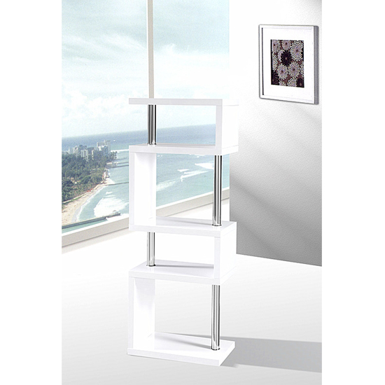 Miami Slim High Gloss Shelving Unit White_2