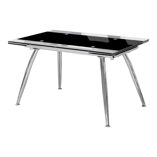 Mandy Extendable Dining Table In Black And Clear Glass