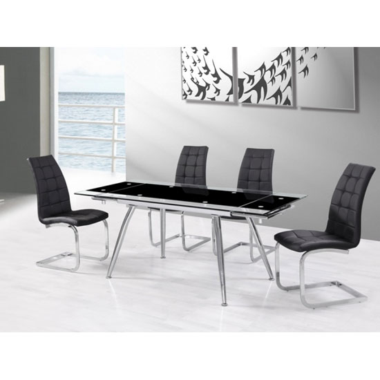 Read more about Mandy extendable glass dining table with 6 new york black chair