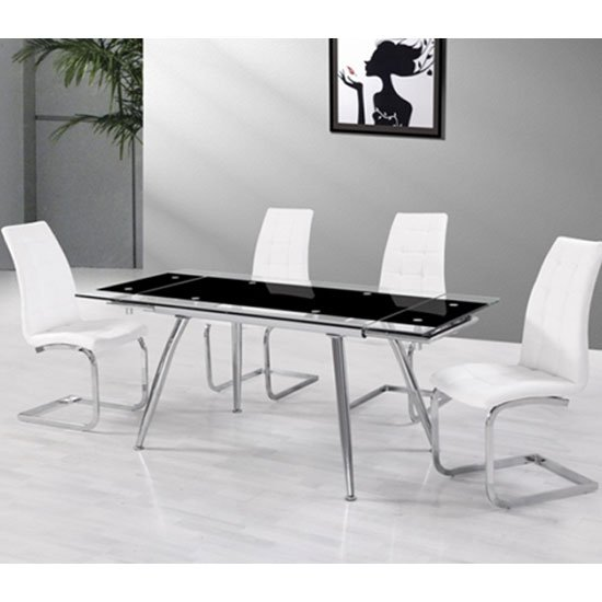 Read more about Mandy extendable glass dining table with 6 new york white chair