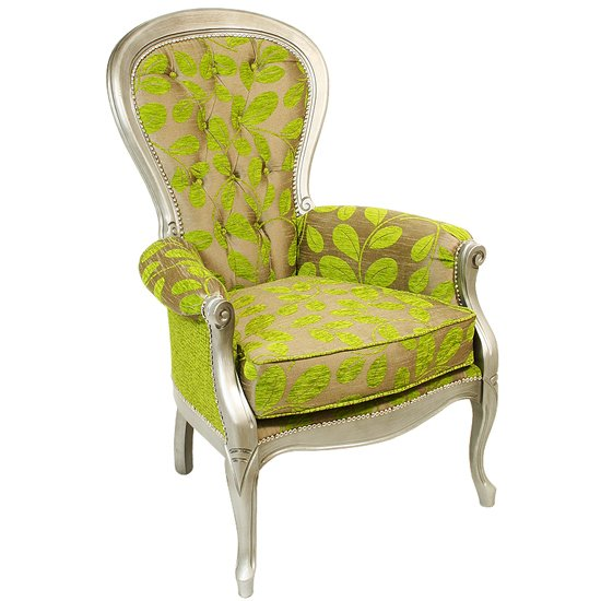 Erela Three Arc Green Fabric Lounge Chair In Silver