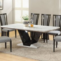 Nouvaro Marble Dining Table Square In White And Black 25187