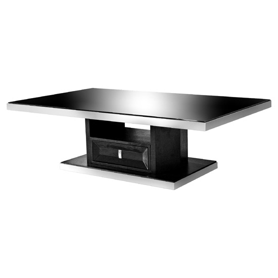 Midnight Coffee Table In Black Glass With 1 Drawer