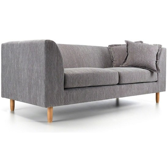 Dartford 3 Seater Sofa In Light Grey Fabric With Wooden Legs