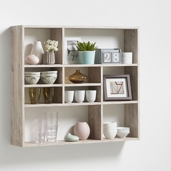 Andreas Wall Mounted Shelving Unit In Sand Oak And 9 Compartment