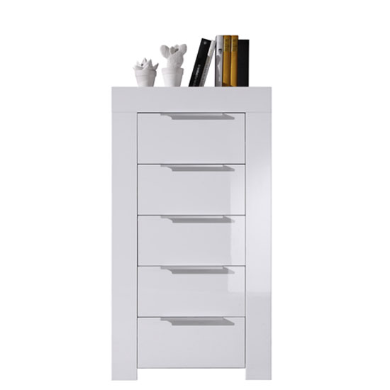Mikado Chest Of Drawers In White High Gloss With 5 Drawer