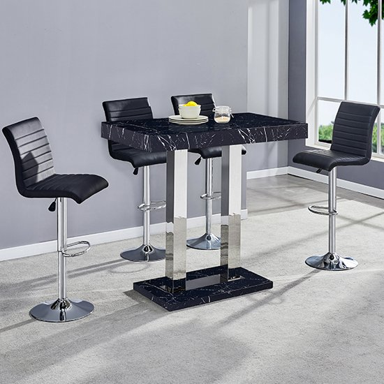 Milano Gloss Marble Effect Bar Table 4 Ripple Black Stools