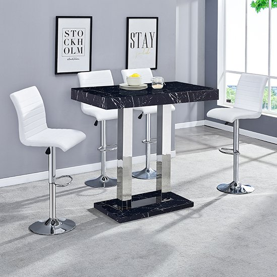 Milano Gloss Marble Effect Bar Table 4 Ripple White Stools