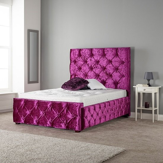 Catherine Modern Bed In Glitz Fuchsia With Wooden Feet
