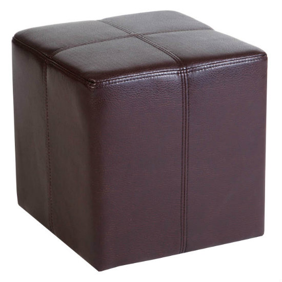 Milano Stool Square In Brown Antique Faux Leather