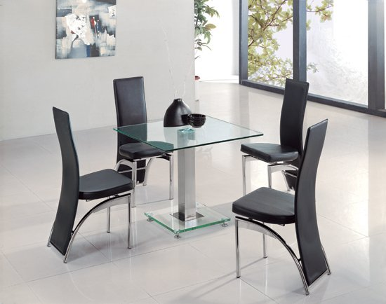 glass dining room tables and chairs square clear glass dining table and 4 g501 chairs 8485 8344