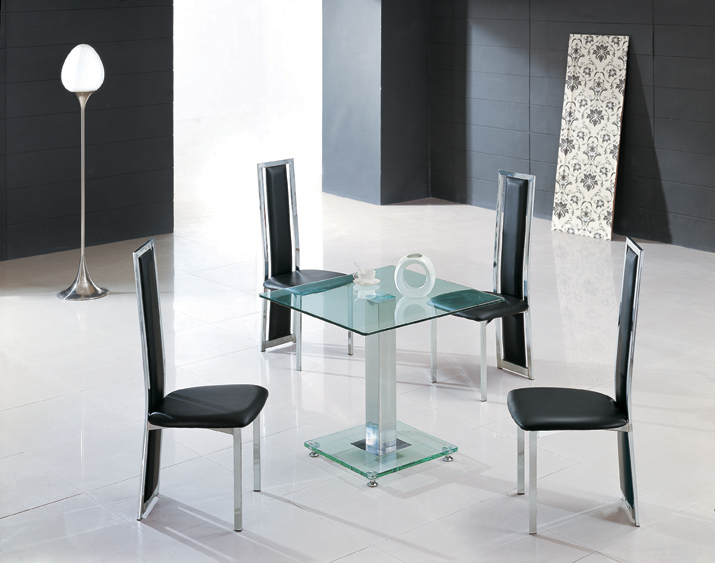 Ice Glass Dining Table Square In Clear With 4 Dining Chairs