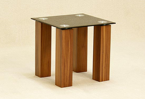 Mirage Black Glass Top Lamp Table