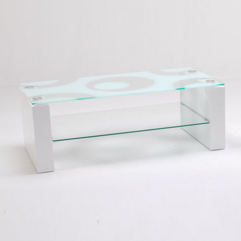 mirage coffee table in pattern glass with white high gloss