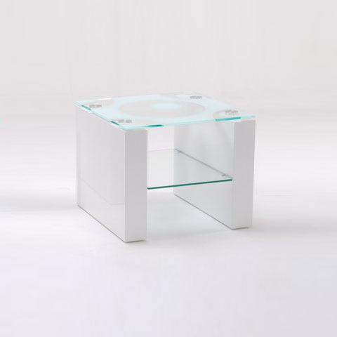 Mirage Lamp Table In Pattern Glass Top With White Gloss