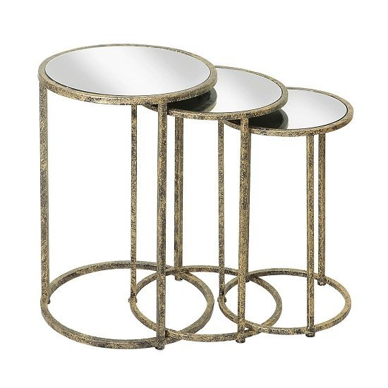 Aachen Mirrored Top Nesting Tables In Metal Frame