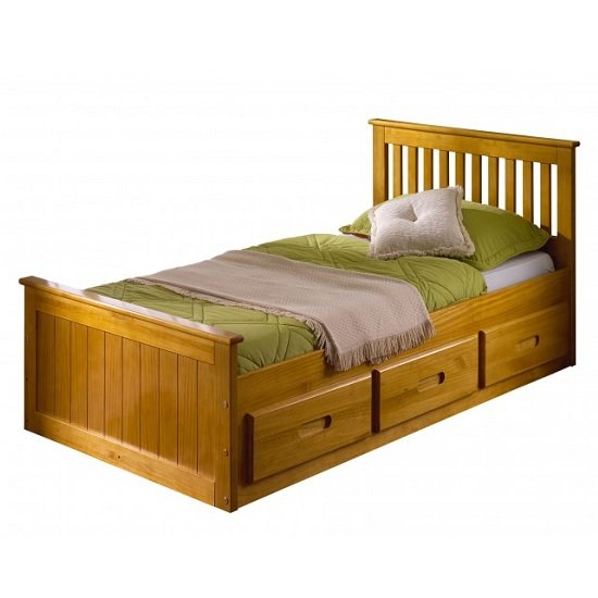 Read more about Mission wooden single bed in honey pine with 3 drawers