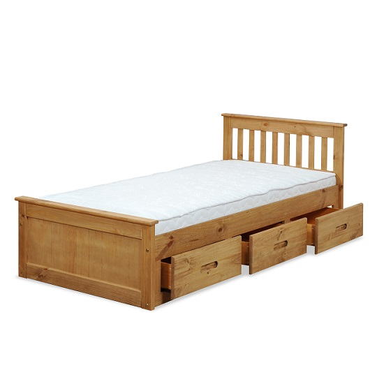 Mission Storage Single Bed In Waxed Pine With 3 Drawers_2