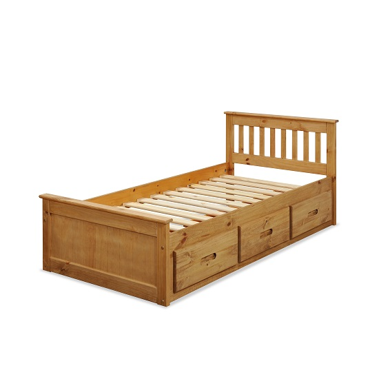 Mission Storage Single Bed In Waxed Pine With 3 Drawers_3