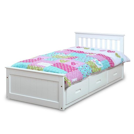 Mission storage single bed in white with 3 drawers 27448 for Small single bed with drawers