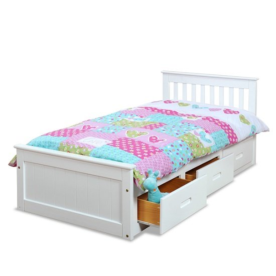 Mission Storage Single Bed In White With 3 Drawers_2
