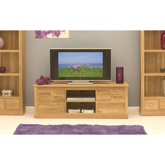 Artisan Wooden Widescreen Television Cabinet In Oak