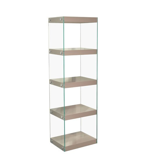 Torino Large Display Stand In Glass With Mink Grey Gloss Shelves