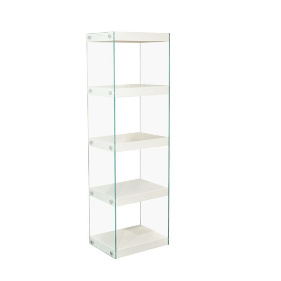 Torino Large Display Stand In Glass With White Gloss Shelves