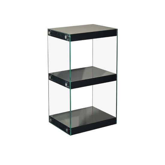 Read more about Torino small display stand in glass with black gloss shelves