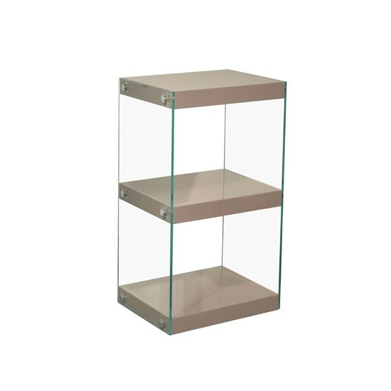 Torino Small Glass Display Stand With Mink Grey Gloss Shelves