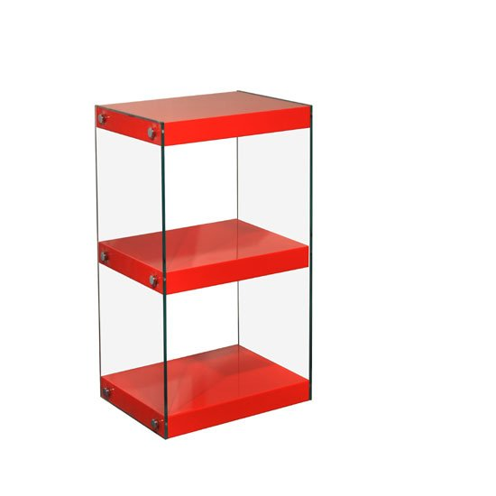Torino Small Display Stand In Glass With Red High Gloss Shelves