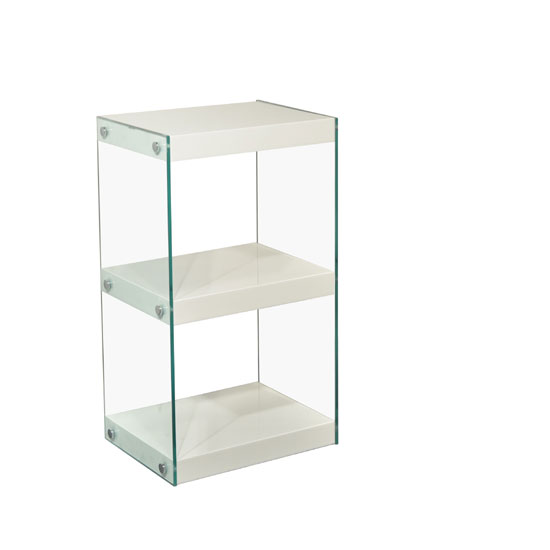 Torino Small Display Stand In Glass With White Gloss Shelves
