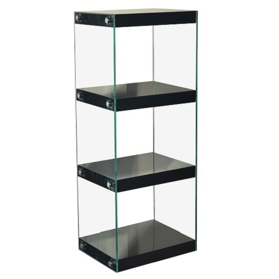 Torino Medium Display Stand In Glass With Black Gloss Shelves