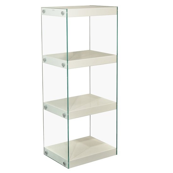 Torino Medium Display Stand In Glass With White Gloss Shelves