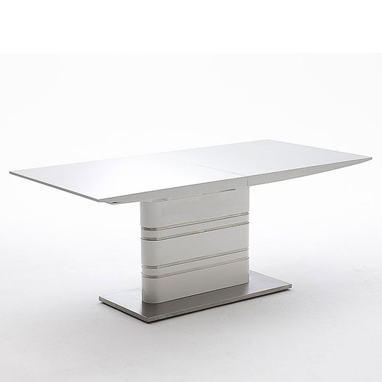 Modus extending white gloss dining table 19540 furniture in - White extending dining tables ...