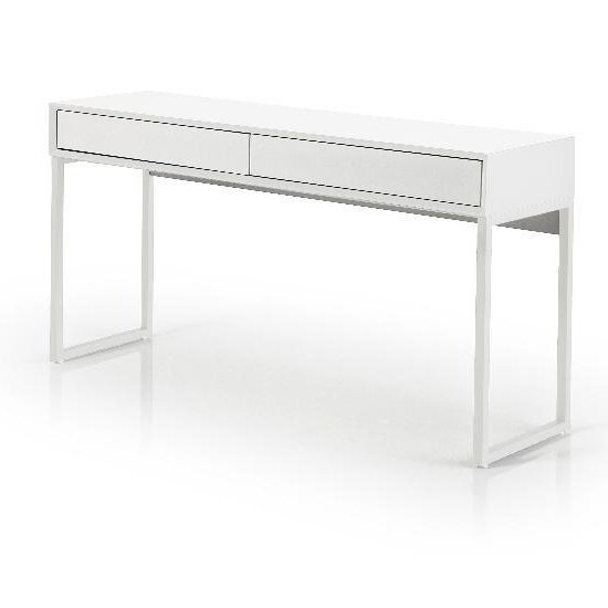 Moller Console Desk In Matt White With Metal Legs And 2 Drawers_1