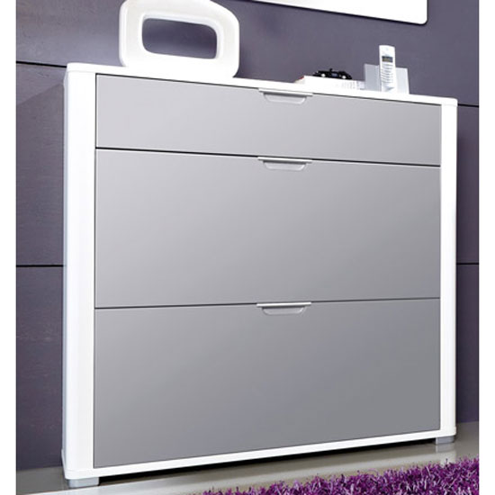 Momento Shoe Storage Cabinet In White And Grey Gloss Front